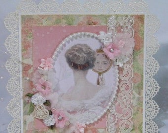 Victorian Shabby Chic Handmade Easel Card Woman Looking in Mirror