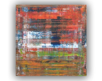Small Abstract painting Orange painting Blue Orange and Green - Modern painting Original painting on canvas Contemporary art