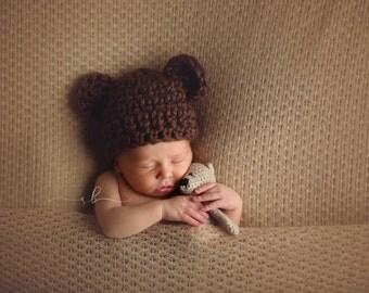 Newborn Teddy Bear Hat, Crochet Teddy Bear Hat, Newborn Bear Hat,  Newborn Animal Hat, Newborn Photo Prop, Photo Prop, Handmade
