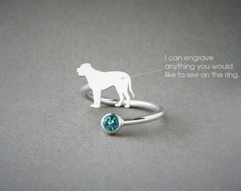 Adjustable Spiral MASTIFF BIRTHSTONE Ring / English Mastiff Birthstone Ring / Birthstone Ring / Dog Ring