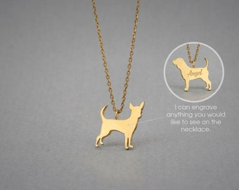 14K Solid GOLD Tiny CHIHUAHUA Name Necklace - Chihuahua Necklace - Gold Dog Necklace - 14K Gold or Rose Plated on 14k Gold Necklace