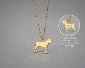 14K Solid GOLD Tiny PITBULL Name Necklace - Pitbull Necklace - Gold Dog Necklace - 14K Gold or Rose Plated on 14k Gold Necklace