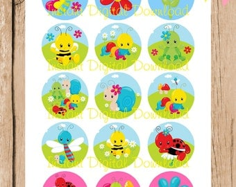 Cute Bugs, Bee, Lady Bug.  1 Inch Bottlecap Images.  Instant Download. 4 x 6 Inches
