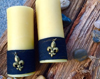 Beeswax Pillar Candle-wrapped in natural hemp w/Fleur de lis charm-New Orleans Saints-Saints Fan-100% Pure beeswax candles