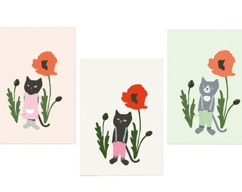 Set of 3 postcards 'Cat and poppy'