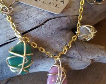 Crystal Charm Bracelet, Wire Wrapped Bracelet, Charm Bracelet, Wire Wrapped Crystal, Wire Wrapped Stone, Wire Wrapped Jewelry, Gold Bracelet