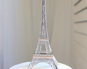 "6"" Silver Paris Eiffel Tower Cake Topper, Madeline, France, Centerpiece, Parisina Decoration, overthetopcaketopper"