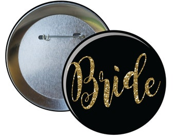 Six Bride Bridesmaid Party Personalized Pin Buttons, Wedding Bachelorette Custom Pins for Celebration Event
