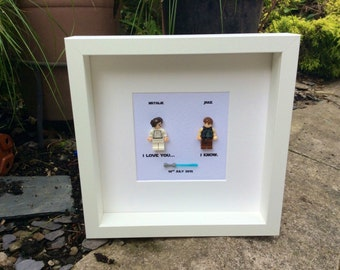 Star Wars I love you... I know Princess Leia and Han Solo Lego replica  Personalised Frame Engagement or Wedding Gift boyfriend girlfriend