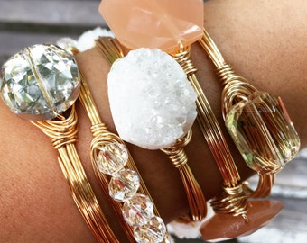 White Druzy Wire Wrapped Bangle