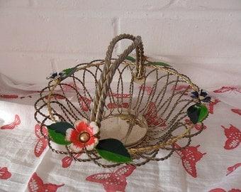 Vintage Metal Flower Basket