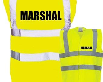 Adult Marshal - Event Staff Enhanced Safety Vest Waistcoat Hi Viz/Vis Visibility - Party/Festival/Organising
