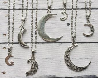Moon Necklace / Silver Moon Necklace, Moon Necklace Silver, Moon Jewelry, Moon Jewellery, Moon Phases, Moon Choker, Crescent Moon Necklace