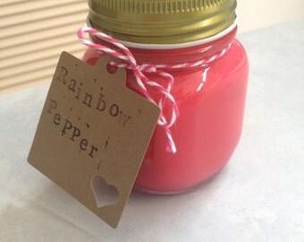 Soy candle 200ml 'Rainbow pepper' in mason jar