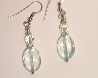 Aquamarine Healing Crystal and Swarovski Earrings