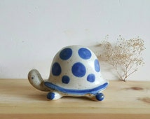 Vintage Counterpoint Blue White Spotted Speckled High Back Shell Stoneware Turtle Coin Bank