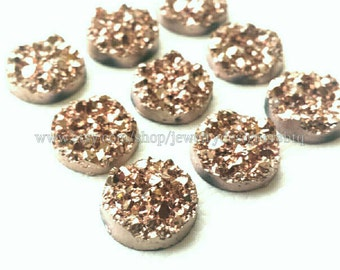 WHOLESALE 100 Piece 12mm Druzy Cabochon Metallic Drusy Resin Cabochons Kawaii Cabs Fits 12mm Flat Round Bezel Jewelry Supplies Rose Gold