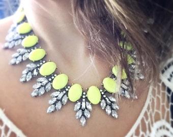 Statement necklace, yellow statement necklace, yellow necklace, neon yellow necklace, neon necklace, neon, flourescent yellow necklace