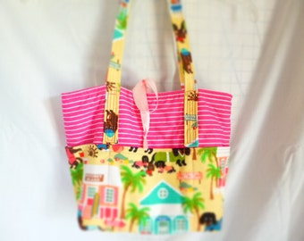 purse/tote quilted with outside pockts