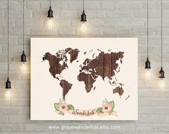 World map art print world faux wood decor world continents world map world map wood watercolor flowers nursery art travel map art gumiabroncs Image collections