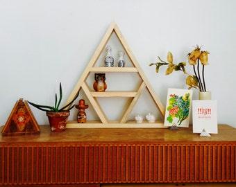 Wood Geometric Wall Shelf Shadowbox Display