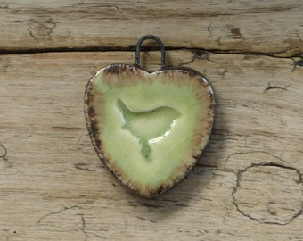 Handmade ceramic bird pendant
