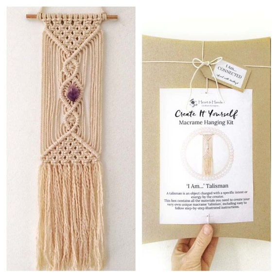 macrame wall hanging kit macrame kit i am connected with amethyst 3534