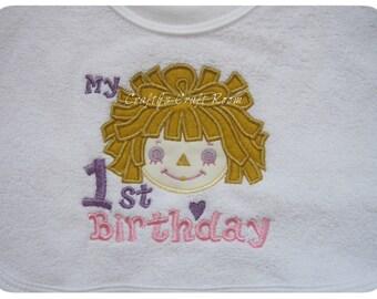 1st Birthday Embroidered Baby Bib