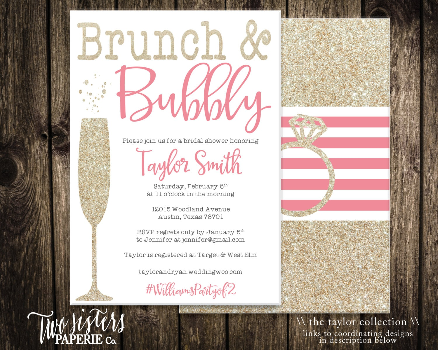 Brunch and bubbly bridal shower invitation by for Wedding brunch invitations