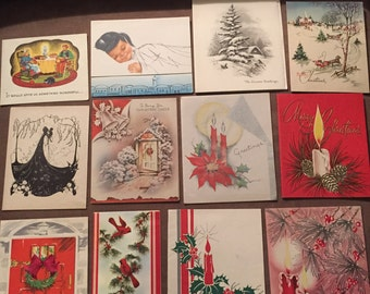 Lot of twelve vintage used holiday christmas greeting cards
