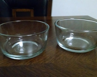 Pair of Vintage Anchor Hocking 2 Cup Clear Glass Bowls