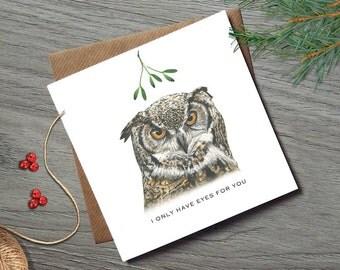 Mistletoe Christmas Card - Funny Christmas Cards - Wife Christmas Card - Husband Christmas Card - Funny Christmas Card - Mistletoe - Owl