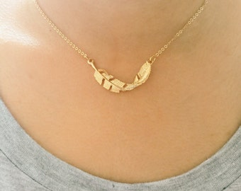 Large Feather Necklace, Gold Leaf Necklace