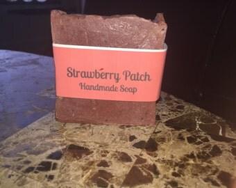 Strawberry patch handmade soap