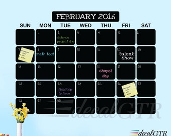 44x60 Chalkboard Wall Calendar Decal - Chalk Black Board Planner - 5 ft wide large adhesive-backed Calendar Vinyl Sticker - C007B