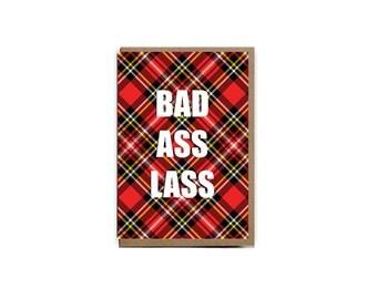 Bad Ass Lass Scottish greeting card