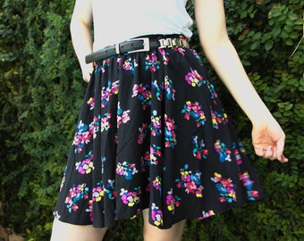 "Woman's Flowy Skirt/Flower Skirt/Colorful Floral Skirt/Gathered Skirt/Bright Flowers/Black Skirt/28""Waist/18.5""Long/*FREE GIFT WRAP*"