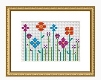 Cross stitch pattern, Modern cross stitch chart, Quick & Easy WILDFLOWER cross stitch - Instant download PDF pattern