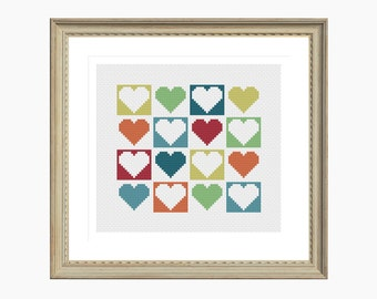 Cross Stitch Pattern, Modern cross stitch, MODERN HEARTS cross stitch chart - Instant Download PDF, quick, easy, simple, heart cross stitch