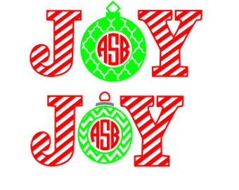 Joy Christmas Ornament SVG, Studio 3, DXF, eps, ps and pdf Digital Cutting Files