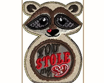 7X12  VALENTINE'S Raccoon You stole my heart, In the HoOp embroidery design file, Includes three separate files.