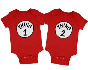 Thing 1 and Thing 2 Costume baby grow set