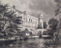1858 Warwick Castle, From the Avon, Antique Print from engraving, Illustrated Times, England, History, Royalty