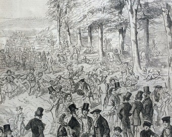 1856 Greenwich Park on Whit Sunday, original print from engraving, illustrated times, Victorian Art, Wall Decor