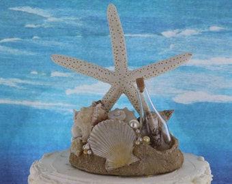 Starfish Beach Wedding Cake Topper / Message in a Bottle