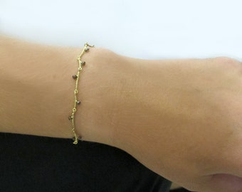 14k solid gold bracelet with smokey quartz, dainty gold bracelet, branch bracelet, nature inspired gold bracelet.
