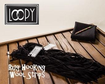 Rug Hooking Wool Strips Black (Just Black), 100% wool (50 Strips)
