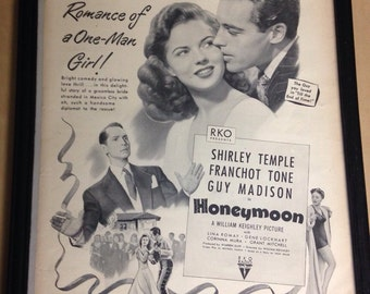Vintage Shirley Temple Honeymoon Movie Poster