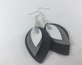 Fommy Rubber feather earrings, black, gray and white