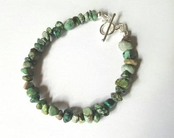 Natural Raw Turquoise silver bracelet